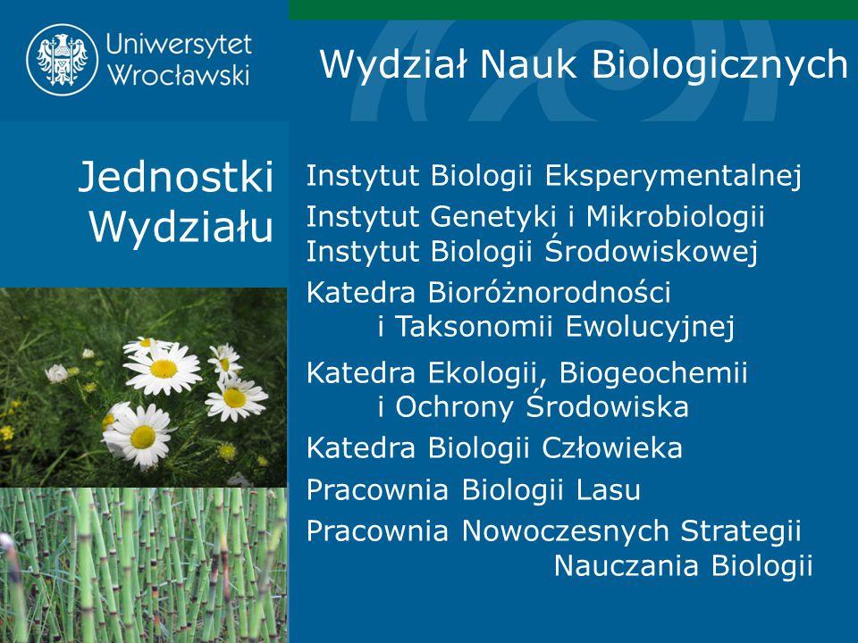 Jednostki Wydziału Instytut Biologii Eksperymentalnej Instytut Genetyki i Mikrobiologii Instytut Biologii Środowiskowej Katedra Bioróżnorodności i Tak