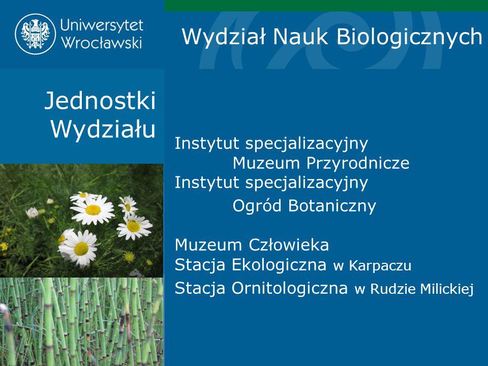Jednostki Wydziału Instytut specjalizacyjny Muzeum Przyrodnicze Instytut specjalizacyjny Ogród Botaniczny Muzeum Człowieka Stacja Ekologiczna w Karpac