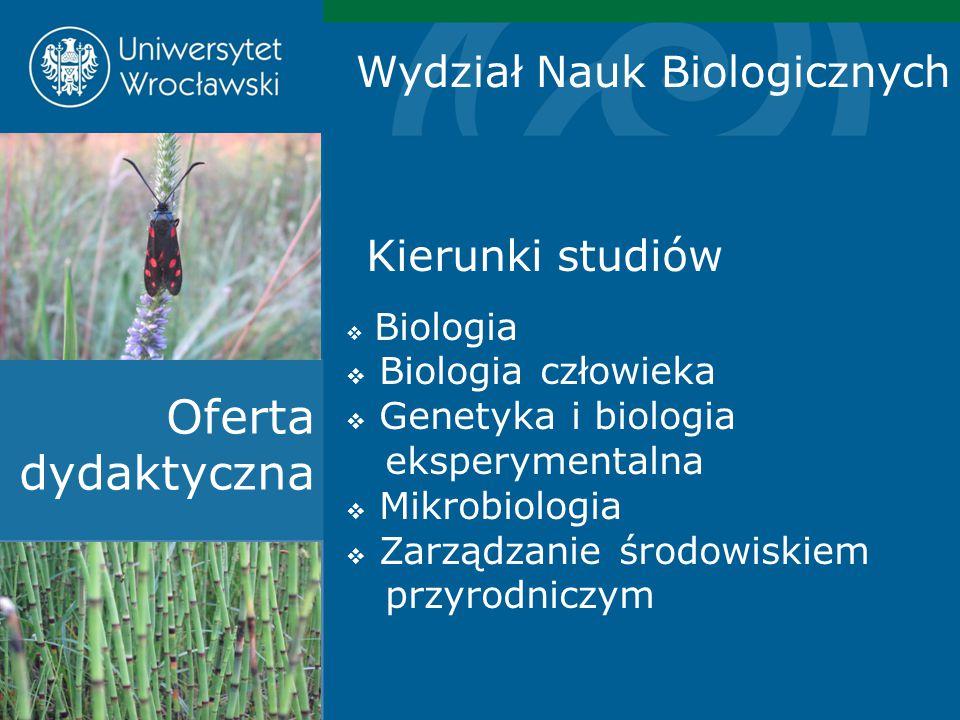 Kierunki studiów  Biologia  Biologia człowieka  Genetyka i biologia eksperymentalna  Mikrobiologia  Zarządzanie środowiskiem przyrodniczym Oferta