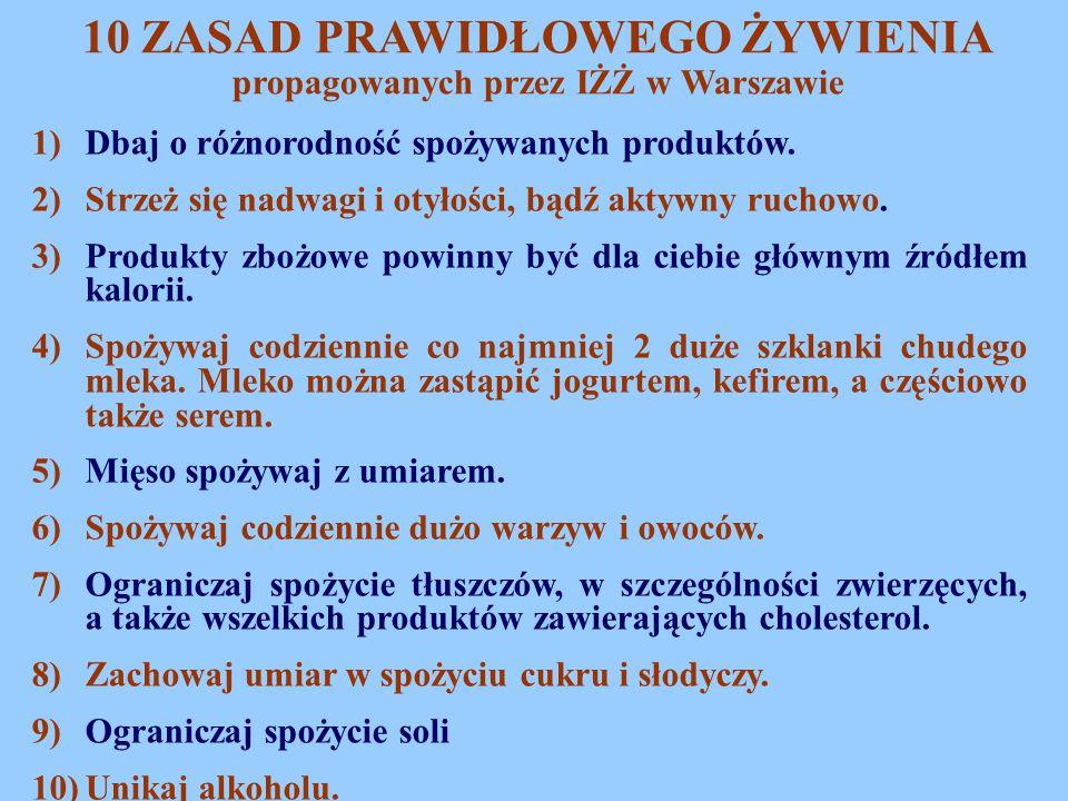 10 ZASAD PRAWIDŁOWEGO ŻYWIENIA propagowanych przez IŻŻ w Warszawie 1)Dbaj o różnorodność spożywanych produktów. 2)Strzeż się nadwagi i otyłości, bądź