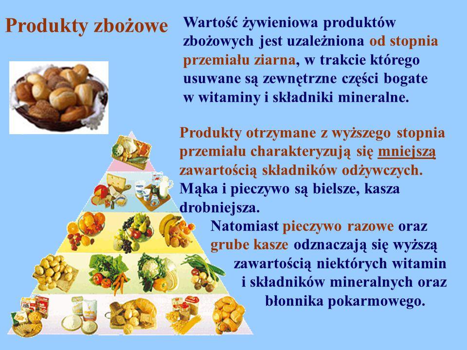 Produkty zbożowe Wartość żywieniowa produktów zbożowych jest uzależniona od stopnia przemiału ziarna, w trakcie którego usuwane są zewnętrzne części b