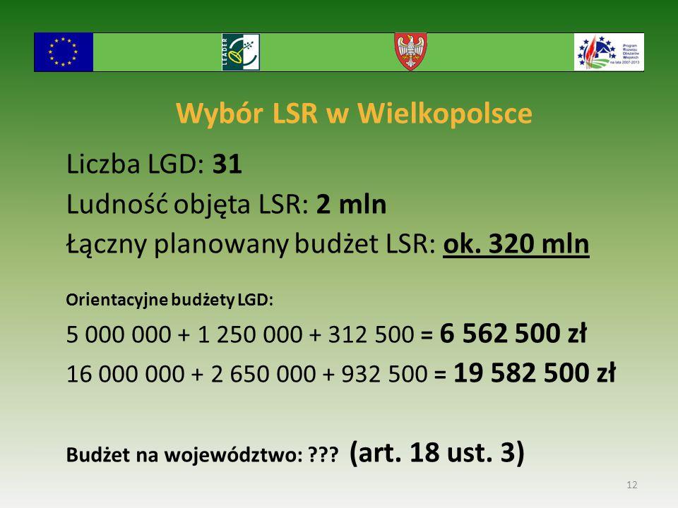 Wybór LSR w Wielkopolsce Liczba LGD: 31 Ludność objęta LSR: 2 mln Łączny planowany budżet LSR: ok. 320 mln Orientacyjne budżety LGD: 5 000 000 + 1 250