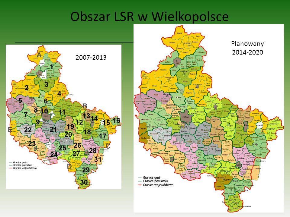 13 Obszar LSR w Wielkopolsce 2007-2013 Planowany 2014-2020