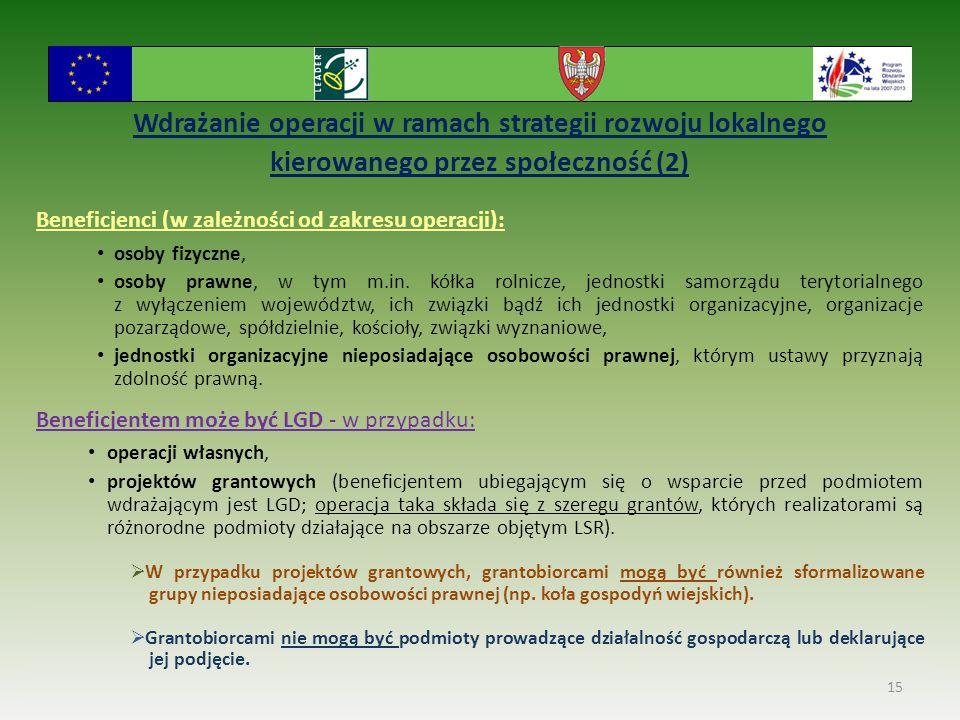 Wdrażanie operacji w ramach strategii rozwoju lokalnego kierowanego przez społeczność (2) Beneficjenci (w zależności od zakresu operacji): osoby fizyc