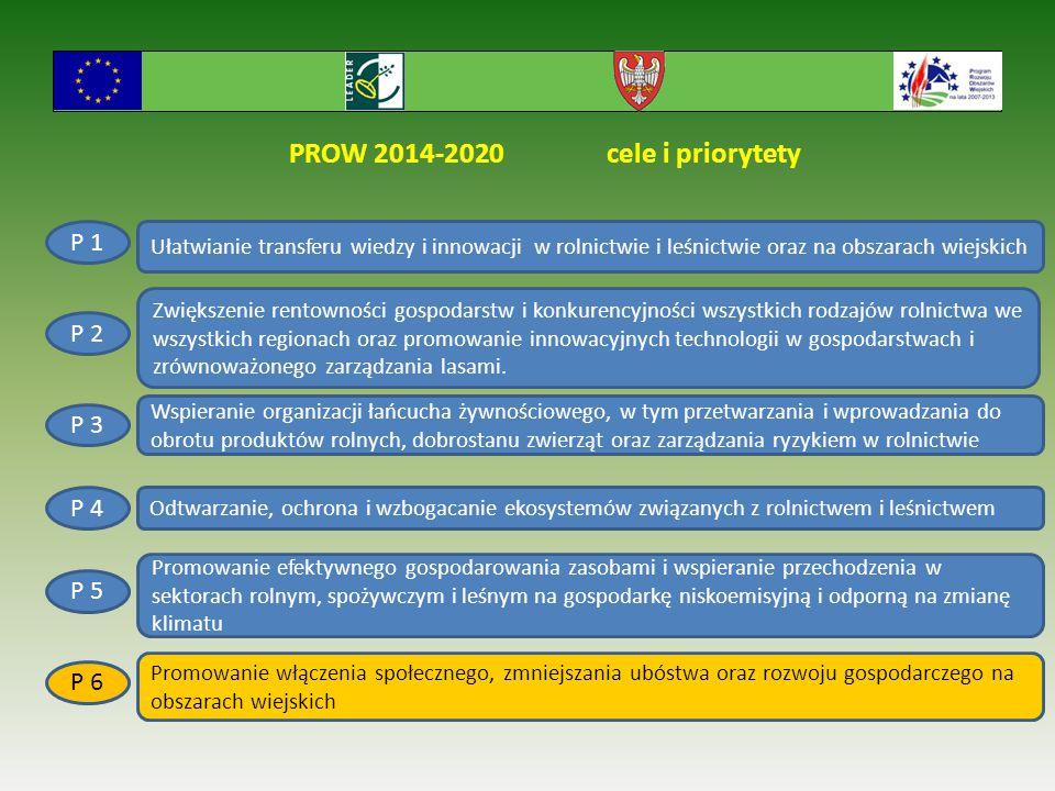 PROW 2014-2020 cele i priorytety Ułatwianie transferu wiedzy i innowacji w rolnictwie i leśnictwie oraz na obszarach wiejskich P 1 P 2 P 6 P 5 P 4 P 3