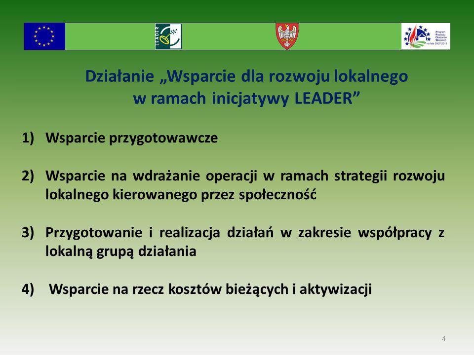 """Działanie """"Wsparcie dla rozwoju lokalnego w ramach inicjatywy LEADER"""" 4 1)Wsparcie przygotowawcze 2)Wsparcie na wdrażanie operacji w ramach strategii"""