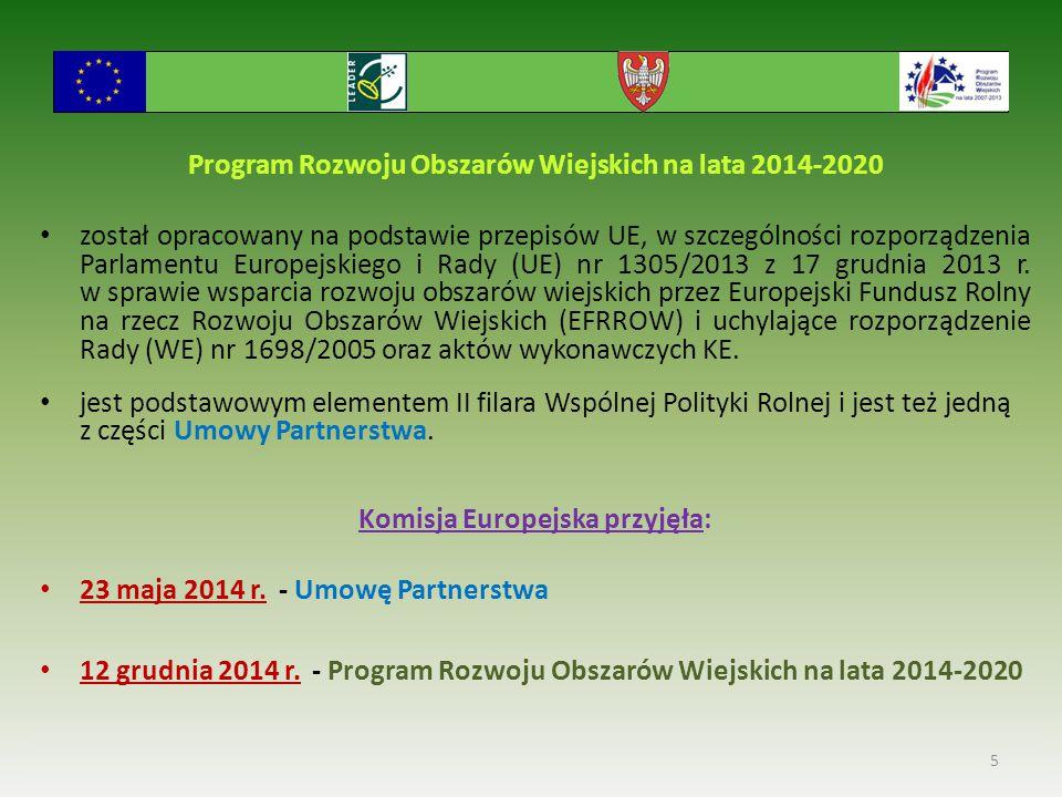 Program Rozwoju Obszarów Wiejskich na lata 2014-2020 został opracowany na podstawie przepisów UE, w szczególności rozporządzenia Parlamentu Europejski