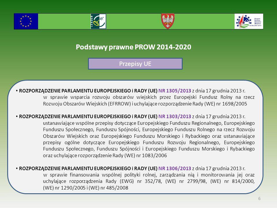 6 Podstawy prawne PROW 2014-2020 Przepisy UE ROZPORZĄDZENIE PARLAMENTU EUROPEJSKIEGO i RADY (UE) NR 1305/2013 z dnia 17 grudnia 2013 r. w sprawie wspa