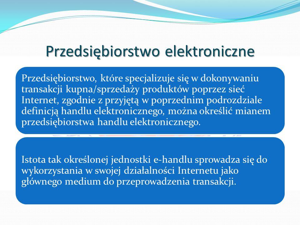 Przedsiębiorstwo elektroniczne Przedsiębiorstwo, które specjalizuje się w dokonywaniu transakcji kupna/sprzedaży produktów poprzez sieć Internet, zgodnie z przyjętą w poprzednim podrozdziale definicją handlu elektronicznego, można określić mianem przedsiębiorstwa handlu elektronicznego.