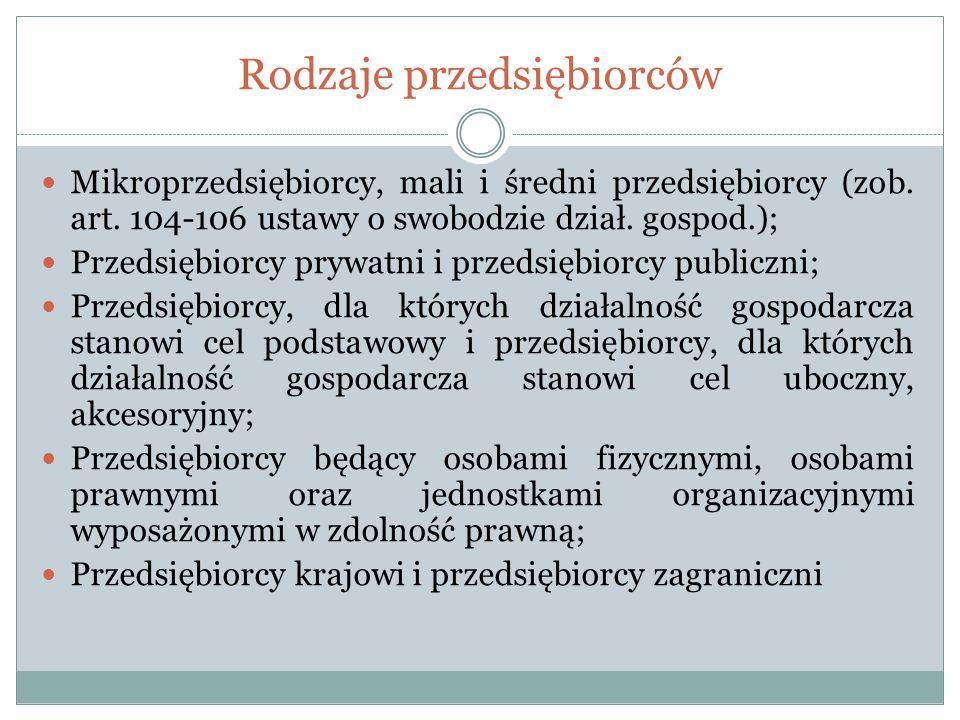 Rodzaje przedsiębiorców Mikroprzedsiębiorcy, mali i średni przedsiębiorcy (zob. art. 104-106 ustawy o swobodzie dział. gospod.); Przedsiębiorcy prywat