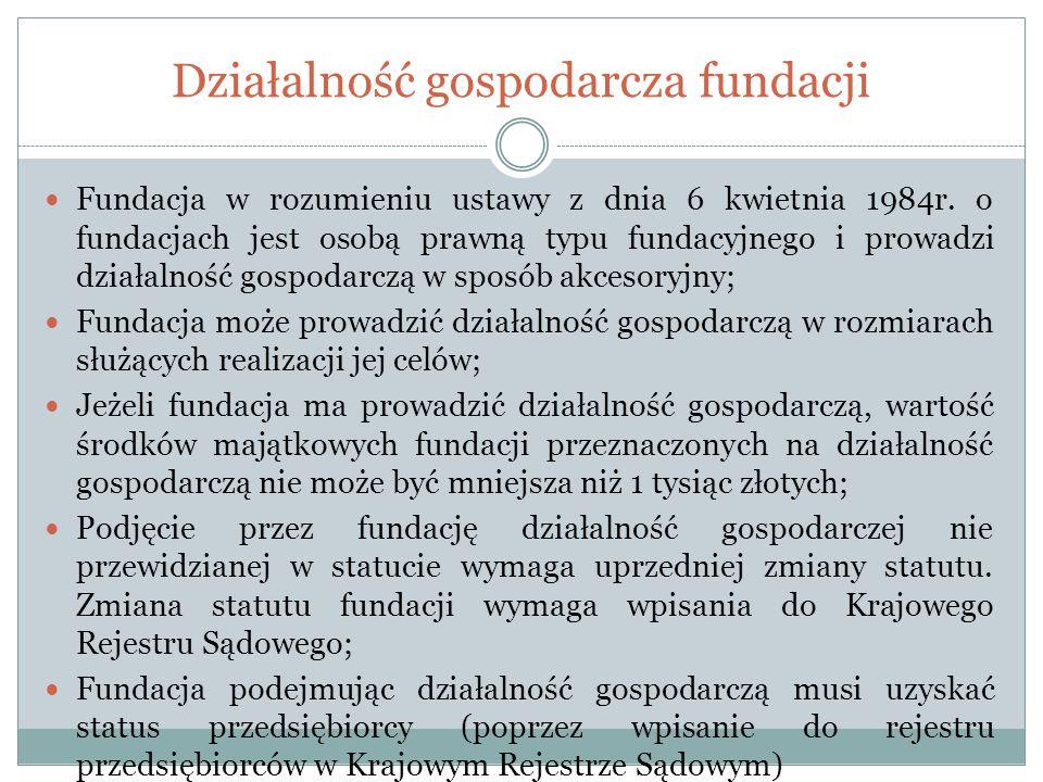 Działalność gospodarcza fundacji Fundacja w rozumieniu ustawy z dnia 6 kwietnia 1984r. o fundacjach jest osobą prawną typu fundacyjnego i prowadzi dzi