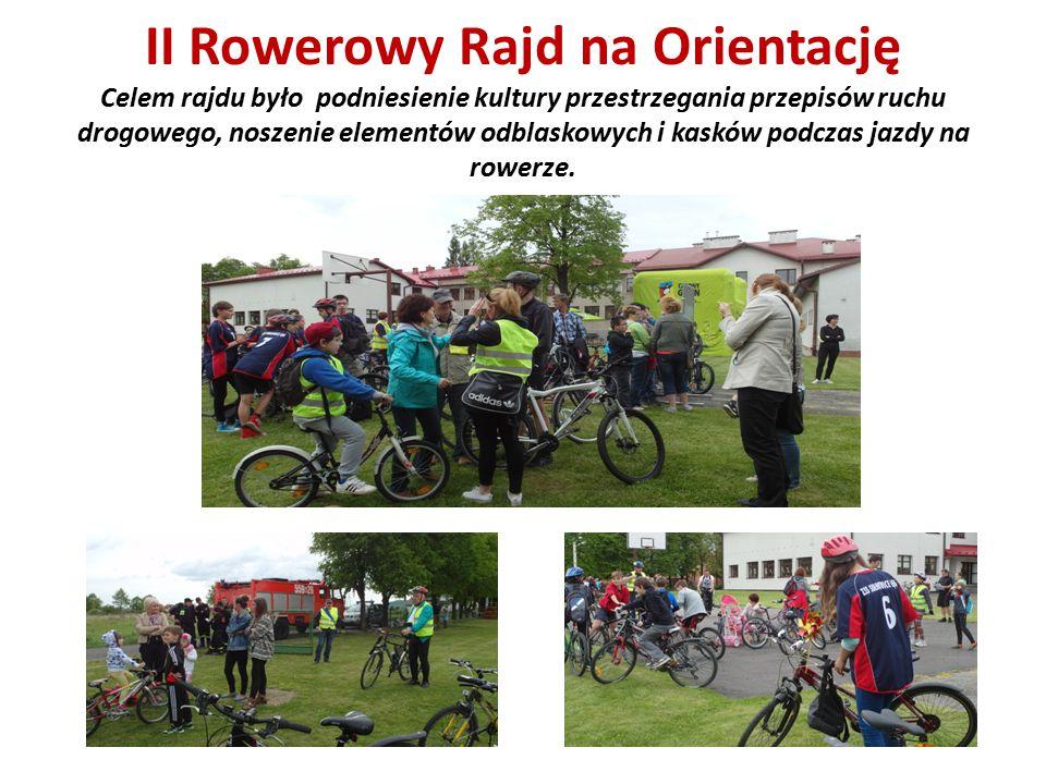 II Rowerowy Rajd na Orientację Celem rajdu było podniesienie kultury przestrzegania przepisów ruchu drogowego, noszenie elementów odblaskowych i kaskó
