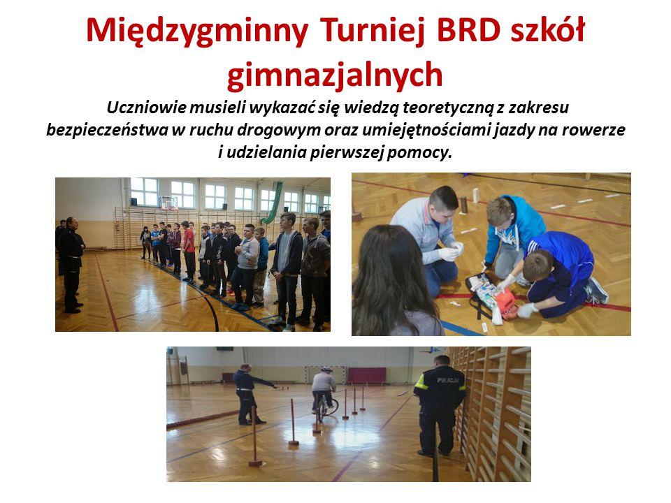 Międzygminny Turniej BRD szkół gimnazjalnych Uczniowie musieli wykazać się wiedzą teoretyczną z zakresu bezpieczeństwa w ruchu drogowym oraz umiejętno