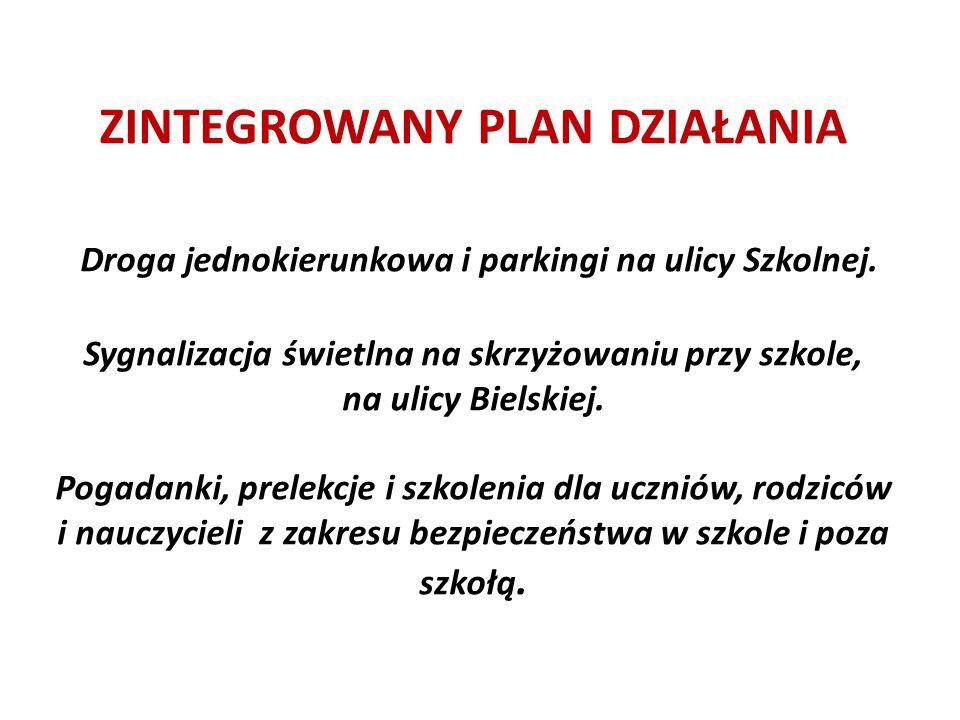 ZINTEGROWANY PLAN DZIAŁANIA Droga jednokierunkowa i parkingi na ulicy Szkolnej. Sygnalizacja świetlna na skrzyżowaniu przy szkole, na ulicy Bielskiej.