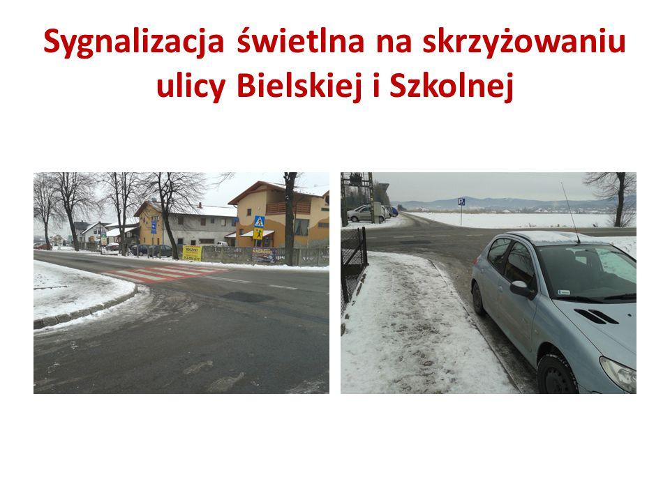 Sygnalizacja świetlna na skrzyżowaniu ulicy Bielskiej i Szkolnej