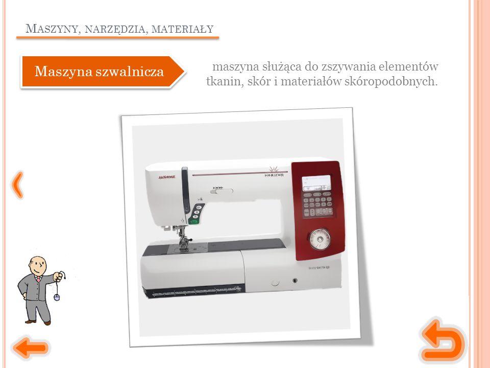 M ASZYNY, NARZĘDZIA, MATERIAŁY maszyna służąca do zszywania elementów tkanin, skór i materiałów skóropodobnych.