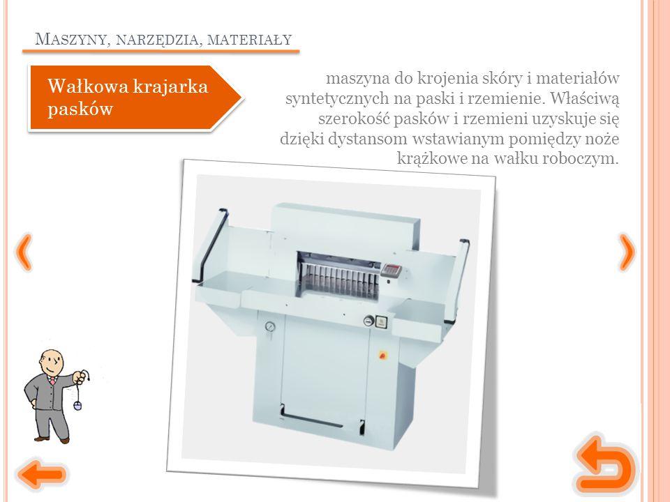M ASZYNY, NARZĘDZIA, MATERIAŁY maszyna do krojenia skóry i materiałów syntetycznych na paski i rzemienie.