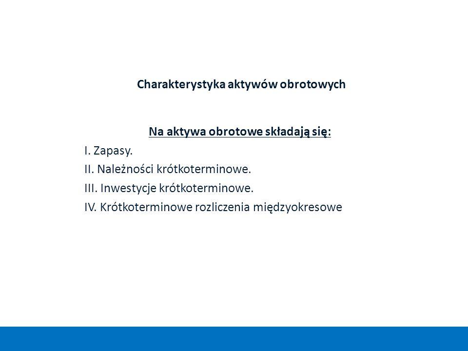 Charakterystyka aktywów obrotowych Na aktywa obrotowe składają się: I. Zapasy. II. Należności krótkoterminowe. III. Inwestycje krótkoterminowe. IV. Kr
