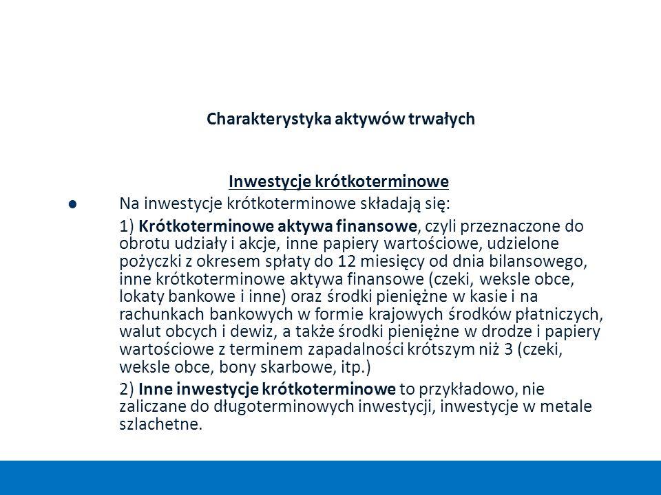 Charakterystyka aktywów trwałych Inwestycje krótkoterminowe Na inwestycje krótkoterminowe składają się: 1) Krótkoterminowe aktywa finansowe, czyli prz