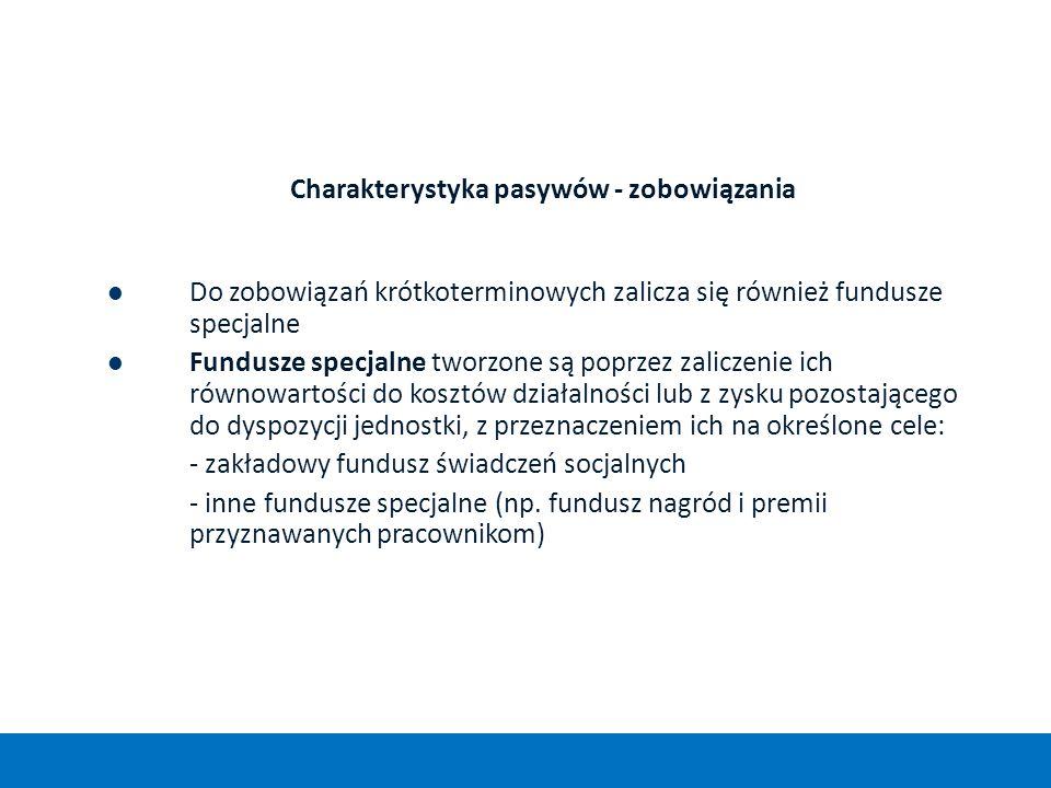 Charakterystyka pasywów - zobowiązania Do zobowiązań krótkoterminowych zalicza się również fundusze specjalne Fundusze specjalne tworzone są poprzez z