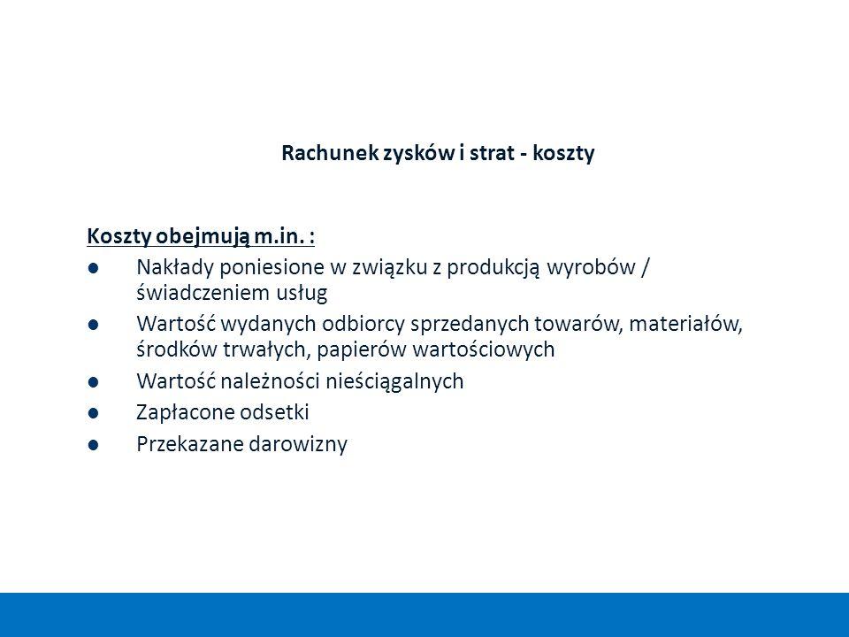 Rachunek zysków i strat - koszty Koszty obejmują m.in. : Nakłady poniesione w związku z produkcją wyrobów / świadczeniem usług Wartość wydanych odbior