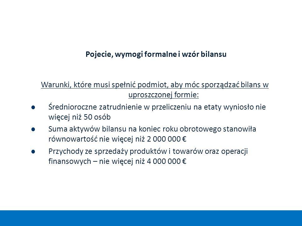 Pojecie, wymogi formalne i wzór bilansu Warunki, które musi spełnić podmiot, aby móc sporządzać bilans w uproszczonej formie: Średnioroczne zatrudnien