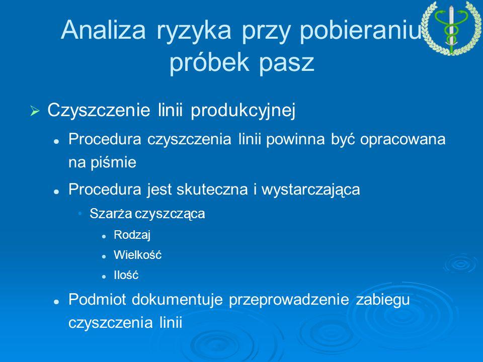   Czyszczenie linii produkcyjnej Procedura czyszczenia linii powinna być opracowana na piśmie Procedura jest skuteczna i wystarczająca Szarża czyszcząca Rodzaj Wielkość Ilość Podmiot dokumentuje przeprowadzenie zabiegu czyszczenia linii Analiza ryzyka przy pobieraniu próbek pasz
