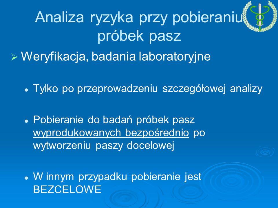   Weryfikacja, badania laboratoryjne Tylko po przeprowadzeniu szczegółowej analizy Pobieranie do badań próbek pasz wyprodukowanych bezpośrednio po wytworzeniu paszy docelowej W innym przypadku pobieranie jest BEZCELOWE Analiza ryzyka przy pobieraniu próbek pasz