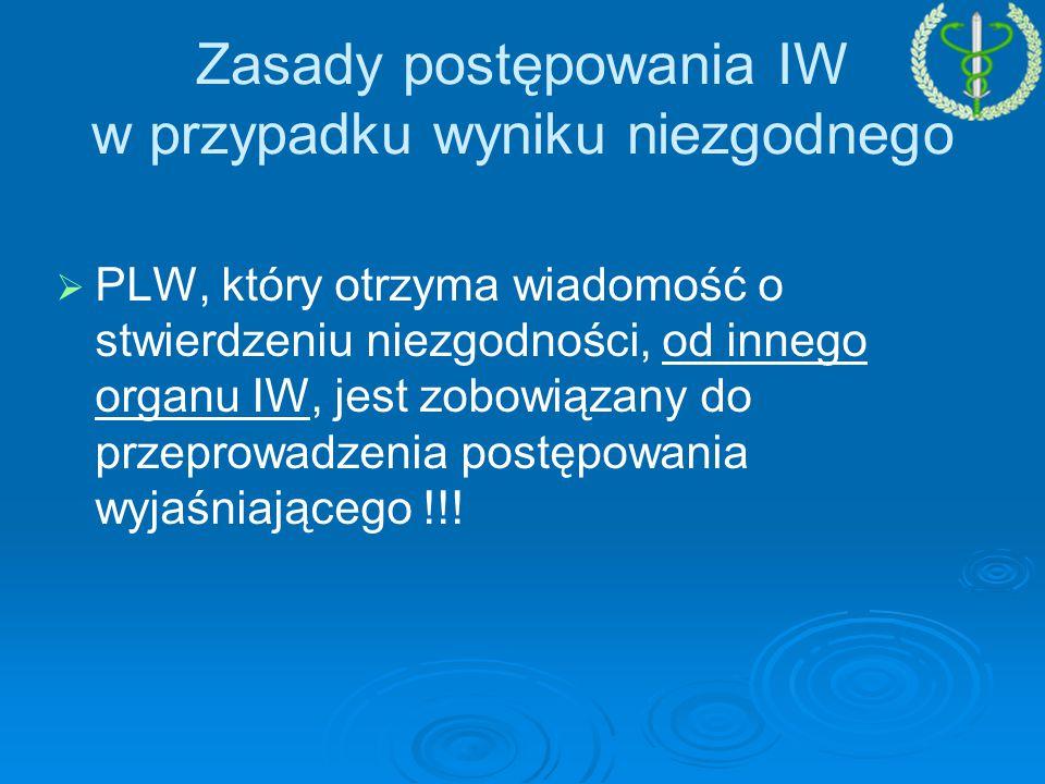   PLW, który otrzyma wiadomość o stwierdzeniu niezgodności, od innego organu IW, jest zobowiązany do przeprowadzenia postępowania wyjaśniającego !!.