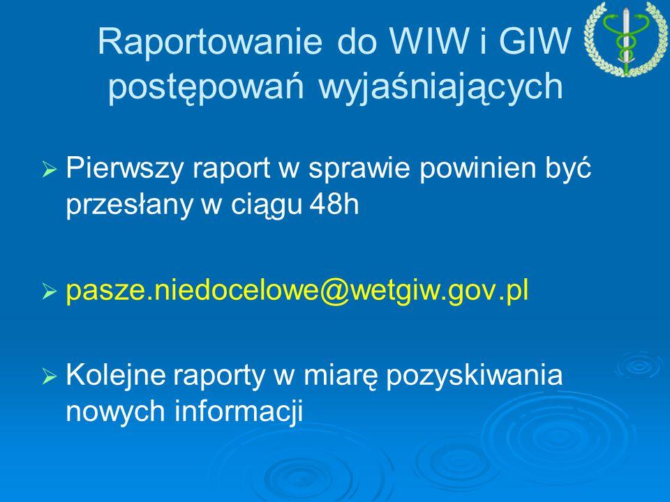   Pierwszy raport w sprawie powinien być przesłany w ciągu 48h   pasze.niedocelowe@wetgiw.gov.pl   Kolejne raporty w miarę pozyskiwania nowych informacji Raportowanie do WIW i GIW postępowań wyjaśniających