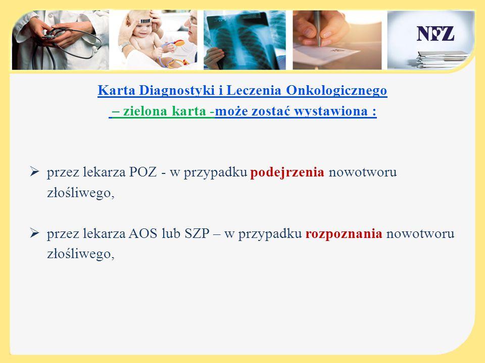 Świadczenia AOS realizowane na podstawie karty DiLO: 1.WSTĘPNA DIAGNOSTYKA ONKOLOGICZNA - pakiet dla pacjentów z podejrzeniem nowotworu złośliwego, 2.POGŁĘBIONA DIAGNOSTYKA ONKOLOGICZNA - pakiet dla pacjentów z rozpoznanym nowotworem złośliwym,