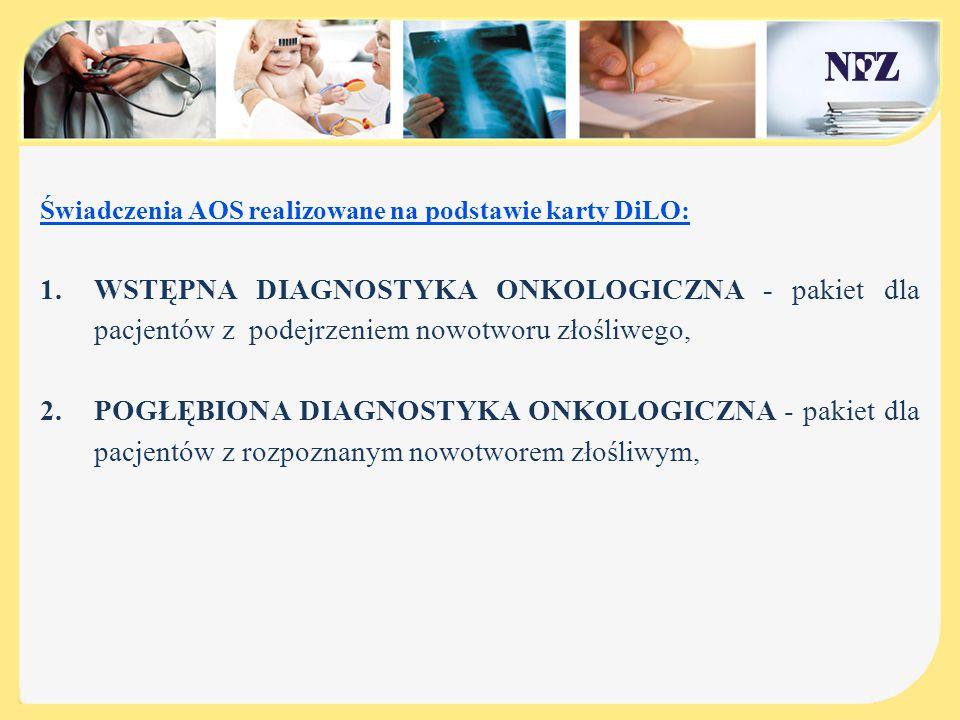 Świadczenia AOS realizowane na podstawie karty DiLO: 1.WSTĘPNA DIAGNOSTYKA ONKOLOGICZNA - pakiet dla pacjentów z podejrzeniem nowotworu złośliwego, 2.