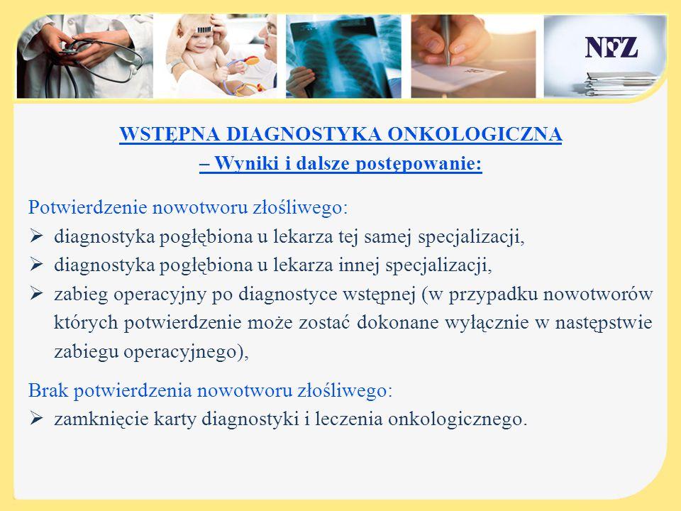 WSTĘPNA DIAGNOSTYKA ONKOLOGICZNA – Wyniki i dalsze postępowanie: Potwierdzenie nowotworu złośliwego:  diagnostyka pogłębiona u lekarza tej samej spec
