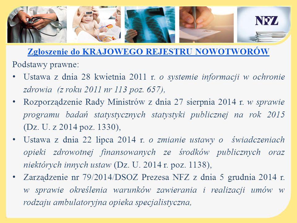 Zgłoszenie do KRAJOWEGO REJESTRU NOWOTWORÓW Podstawy prawne: Ustawa z dnia 28 kwietnia 2011 r. o systemie informacji w ochronie zdrowia (z roku 2011 n