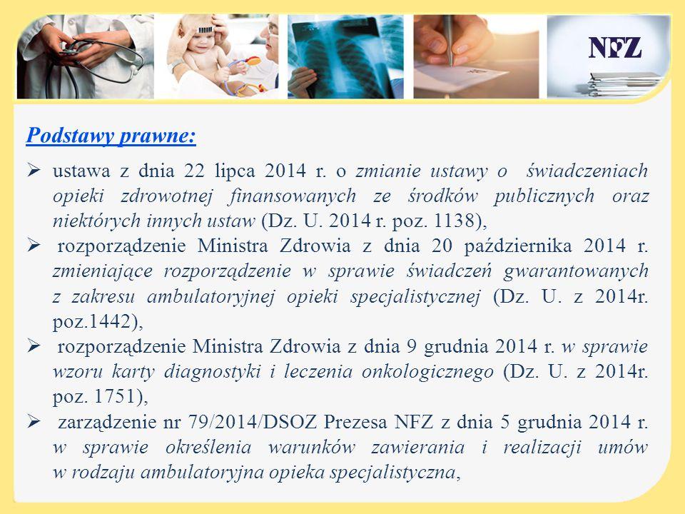 Podstawy prawne:  ustawa z dnia 22 lipca 2014 r. o zmianie ustawy o świadczeniach opieki zdrowotnej finansowanych ze środków publicznych oraz niektór