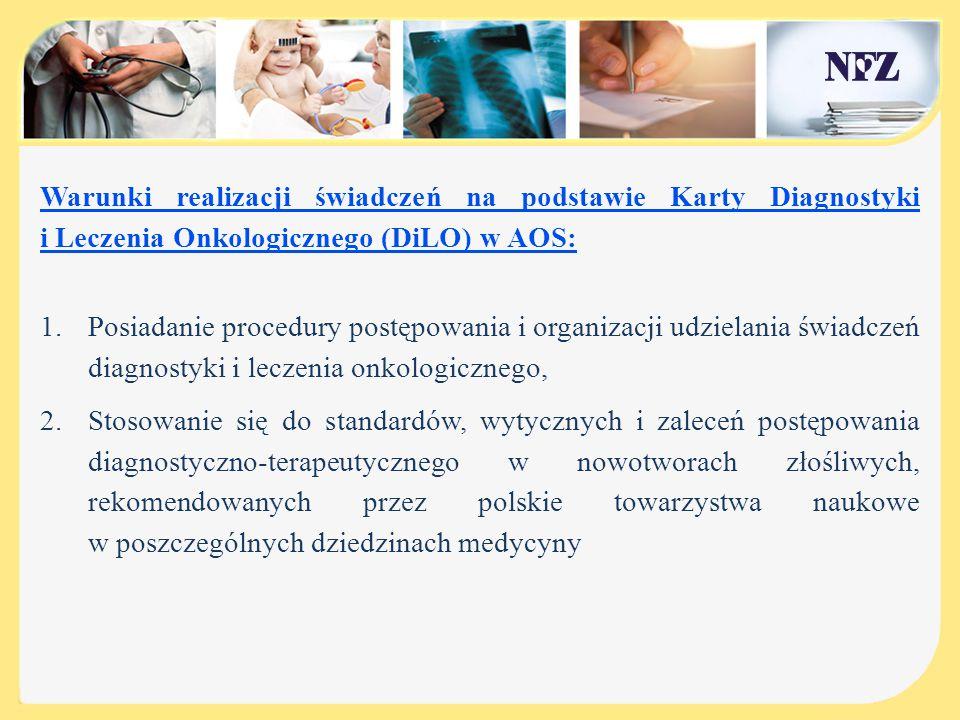 Warunki realizacji świadczeń na podstawie Karty DiLO w AOS c.d.: 3.Zapewnienie co najmniej dostępu do diagnostyki onkologicznej w zakresie: diagnostyki laboratoryjnej, tomografii komputerowej, rezonansu magnetycznego, pozytonowej tomografii emisyjnej, medycyny nuklearnej oraz badań endoskopowych, 4.Zapewnienie realizacji diagnostyki onkologicznej w terminie 9 tygodni od dnia wpisania pacjenta na listę oczekujących; docelowo ( 2017r.) w terminie 7 tygodni.