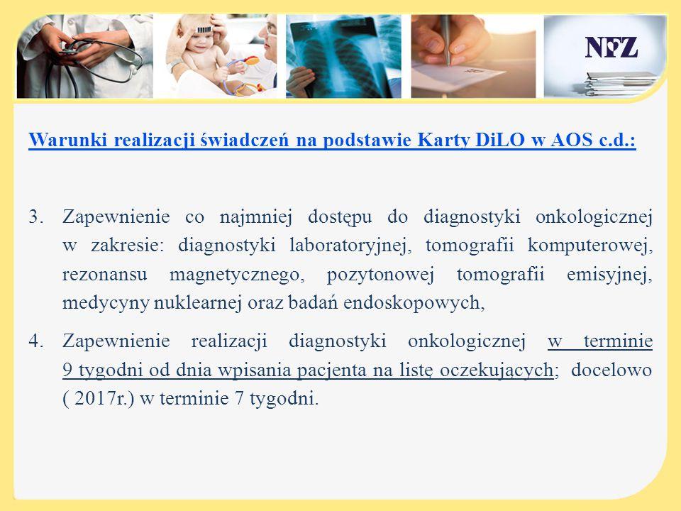 Warunki realizacji świadczeń na podstawie Karty DiLO w AOS c.d.: 3.Zapewnienie co najmniej dostępu do diagnostyki onkologicznej w zakresie: diagnostyk