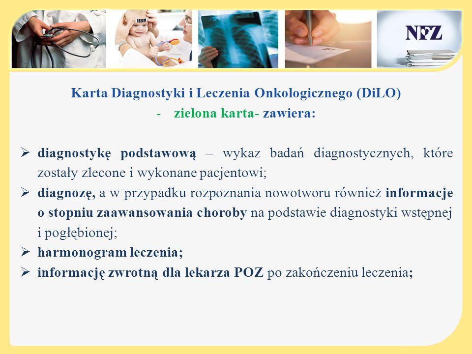 Karta Diagnostyki i Leczenia Onkologicznego (DiLO) -zielona karta - obieg dokumentów:  Kartę DiLO wystawia lekarz POZ,AOS,SZP,  Świadczeniobiorca pozostawia kartę DiLO u świadczeniodawcy, u którego świadczenia będą udzielane,  W przypadku konieczności zmiany świadczeniodawcy Karta DiLO jest wydawana pacjentowi,  Karta DiLO (kopia) pozostaje u świadczeniodawcy, który : wykluczył nowotwór i zamknął kartę, który zakończył leczenie,  Po zamknięciu karty (wykluczenie nowotworu) lub zakończeniu leczenia Karta DiLO z kopią dokumentacji jest przekazywana do lekarza pierwszego kontaktu i włączana do dokumentacji pacjenta
