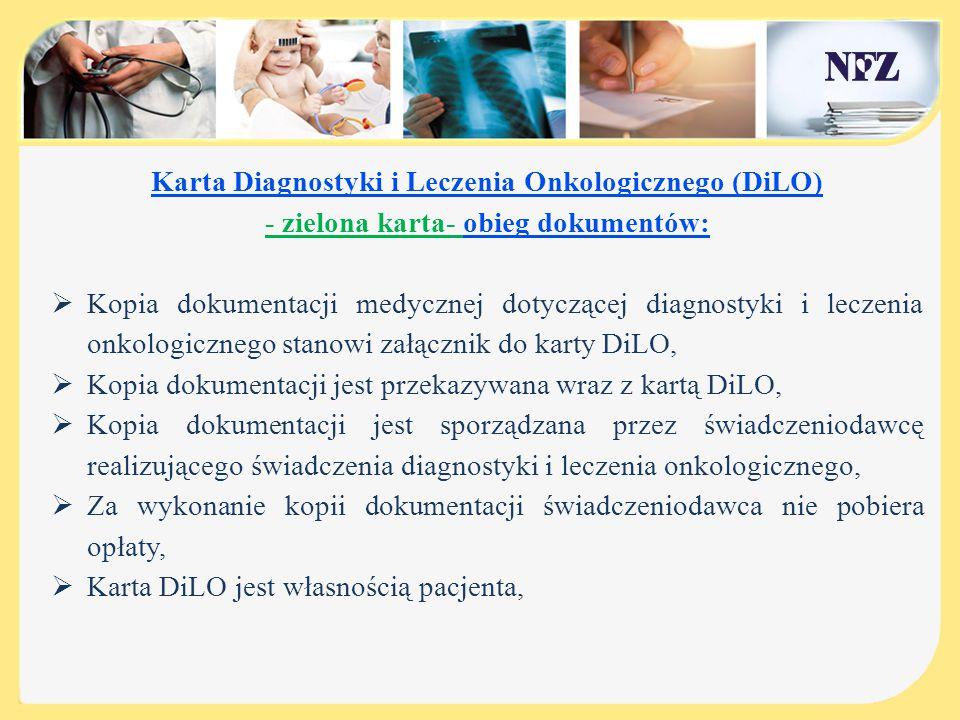 Karta Diagnostyki i Leczenia Onkologicznego – zielona karta -może zostać wystawiona :  przez lekarza POZ - w przypadku podejrzenia nowotworu złośliwego,  przez lekarza AOS lub SZP – w przypadku rozpoznania nowotworu złośliwego,