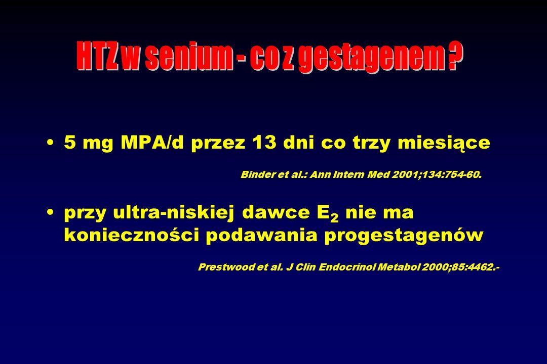 5 mg MPA/d przez 13 dni co trzy miesiące Binder et al.: Ann Intern Med 2001;134:754-60.
