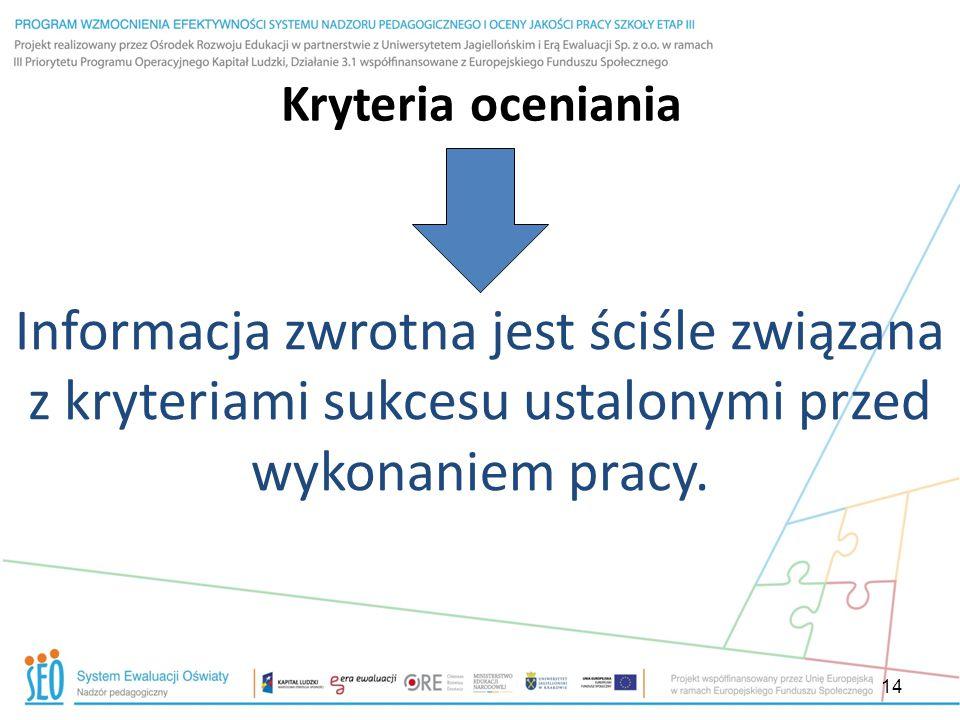 14 Kryteria oceniania Informacja zwrotna jest ściśle związana z kryteriami sukcesu ustalonymi przed wykonaniem pracy.