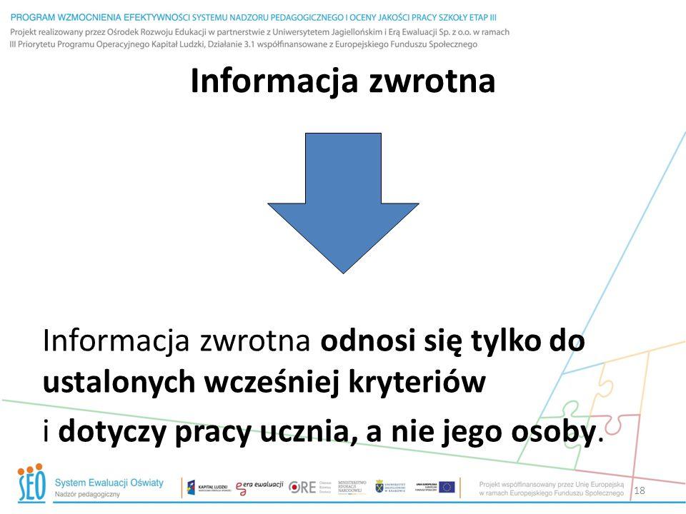 Informacja zwrotna Informacja zwrotna odnosi się tylko do ustalonych wcześniej kryteriów i dotyczy pracy ucznia, a nie jego osoby. 18