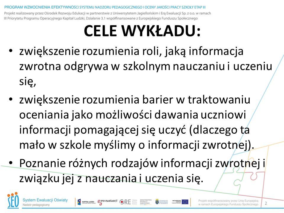 Informacja zwrotna Cornelius-White 2007 (229 badań) za J.