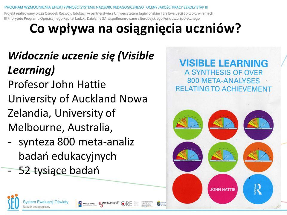 Co wpływa na osiągnięcia uczniów? Widocznie uczenie się (Visible Learning) Profesor John Hattie University of Auckland Nowa Zelandia, University of Me