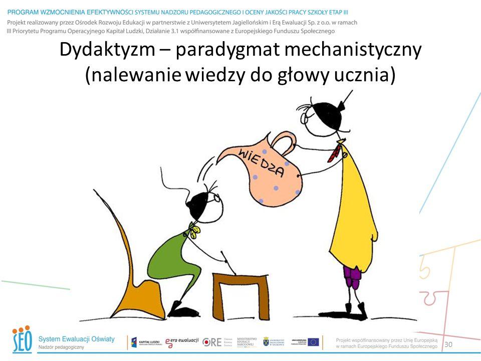 30 Dydaktyzm – paradygmat mechanistyczny (nalewanie wiedzy do głowy ucznia)