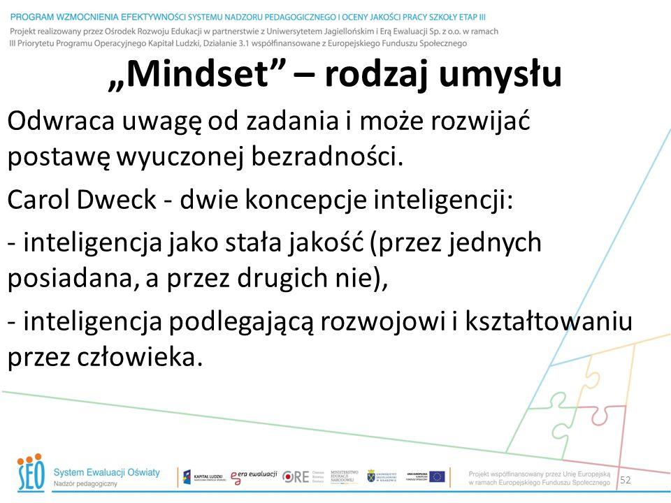 """""""Mindset"""" – rodzaj umysłu Odwraca uwagę od zadania i może rozwijać postawę wyuczonej bezradności. Carol Dweck - dwie koncepcje inteligencji: - intelig"""