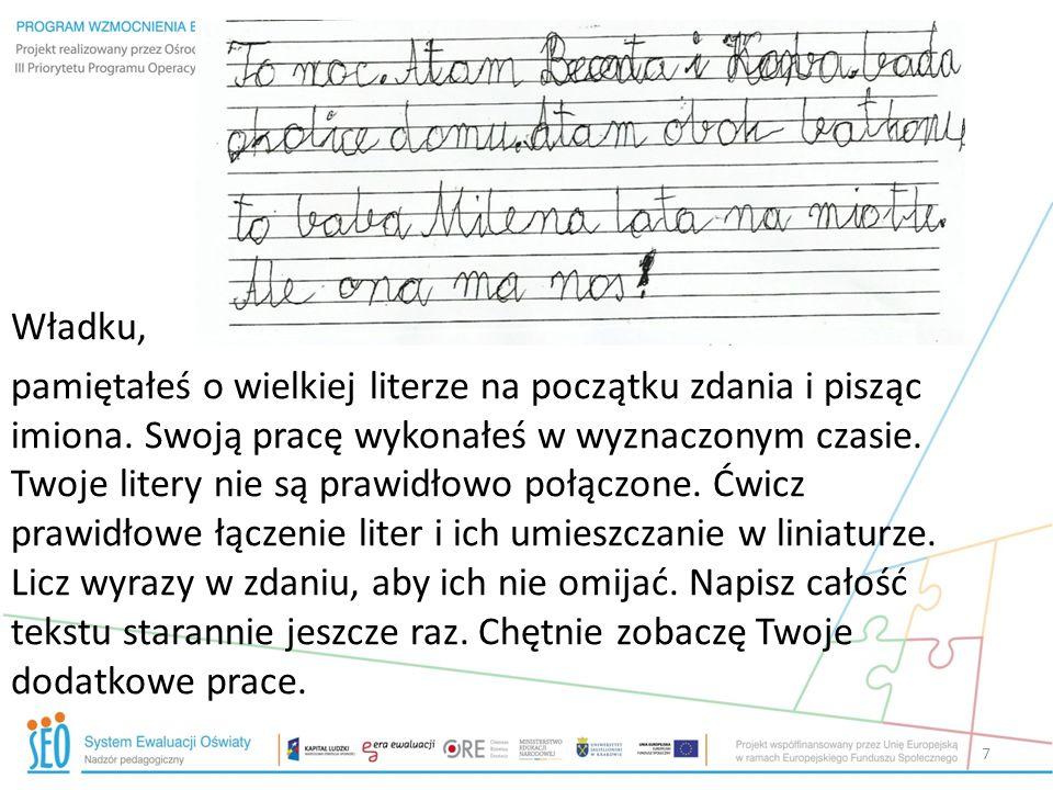Uczeń ponownie przepisał tekst 8