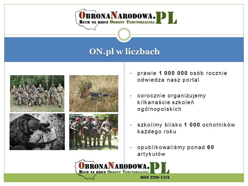 ON.pl w liczbach prawie 1 000 000 osób rocznie odwiedza nasz portal corocznie organizujemy kilkanaście szkoleń ogólnopolskich szkolimy blisko 1 000 oc