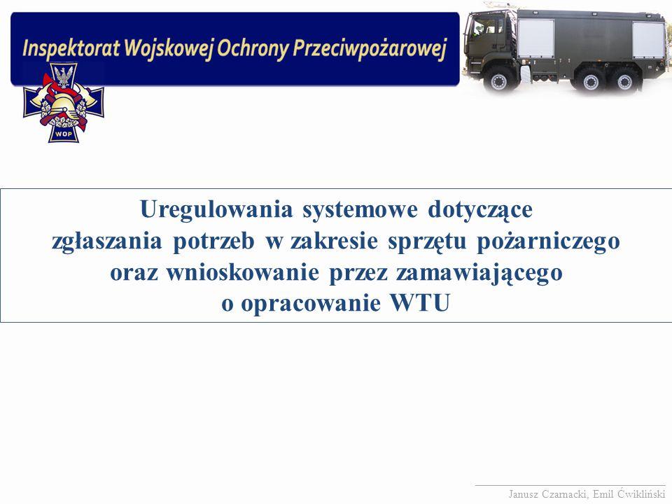 Uregulowania systemowe dotyczące zgłaszania potrzeb w zakresie sprzętu pożarniczego oraz wnioskowanie przez zamawiającego o opracowanie WTU __________