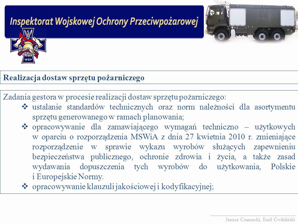 Realizacja dostaw sprzętu pożarniczego Zadania gestora w procesie realizacji dostaw sprzętu pożarniczego:  ustalanie standardów technicznych oraz nor
